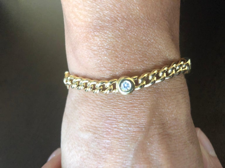 18 Karat Yellow Gold Link Bracelet In New Condition For Sale In Great Neck, NY