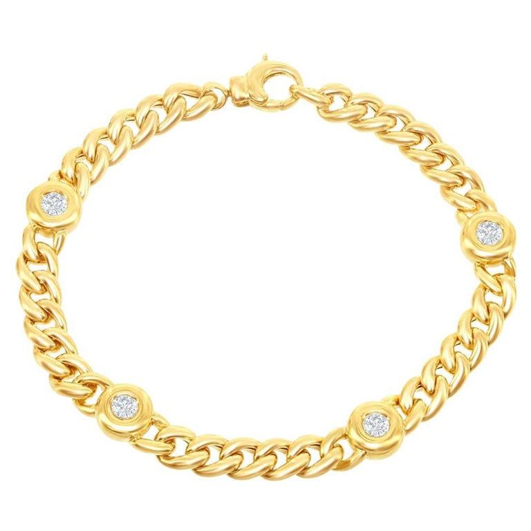 18 Karat Yellow Gold Link Bracelet For Sale