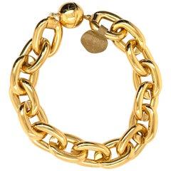 18 Karat Yellow Gold Link Bracelet Magnet Lock 13.1 Grams