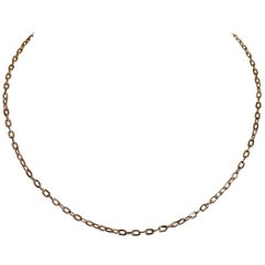 18 Karat Solid Yellow Gold Link Chain Necklace 40cm