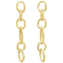 18 Karat Yellow Gold Link Drop Earrings