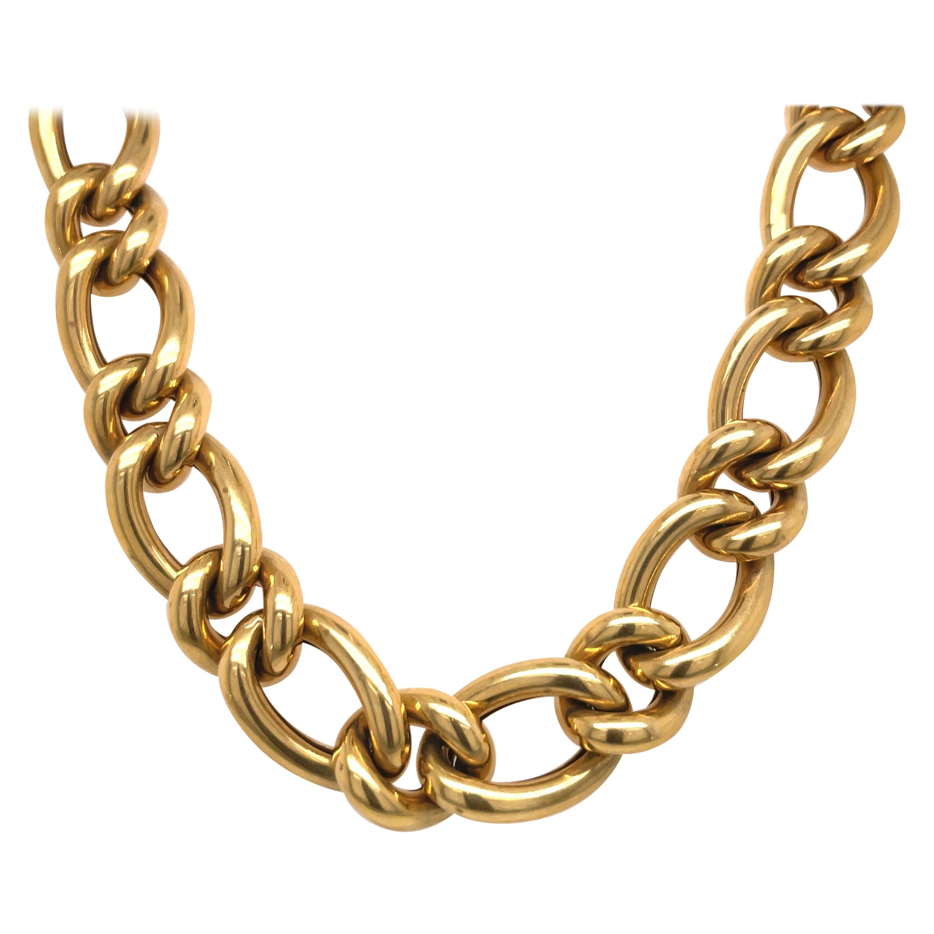 18 Karat Yellow Gold Link Necklace 63.8 Grams Made in Italy