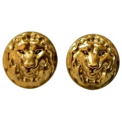 18 Karat Yellow Gold Lion Earrings