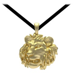 18 Karat Yellow Gold Lion Pendant Necklace