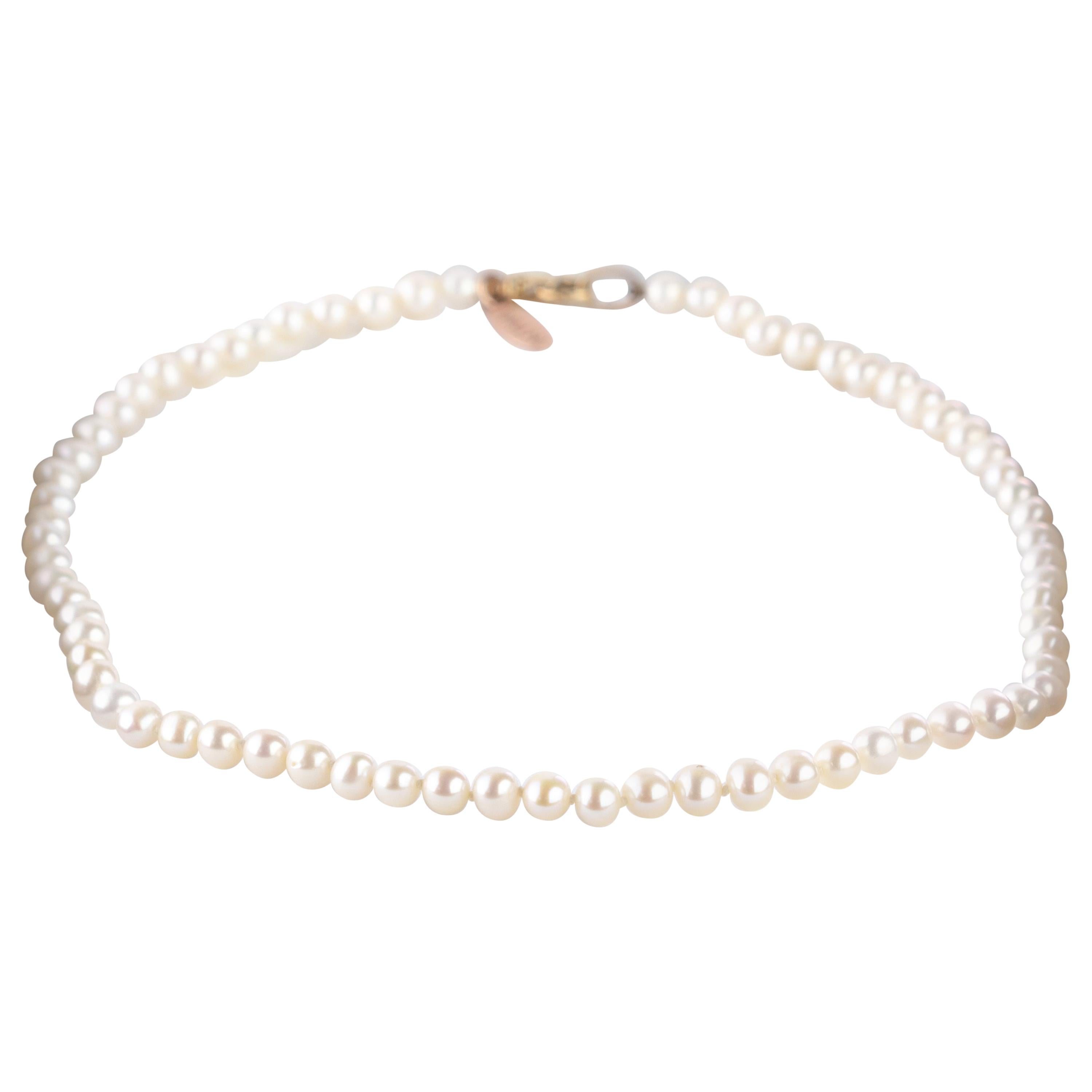 18 Karat Yellow Gold Lobster Claw Closure Freshwater Pearl Choker Necklace