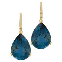 18 Karat Yellow Gold London Blue Topaz Gossip Collection Earrings by Goshwara