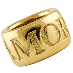 18 Karat Yellow Gold Love Band Ring Pasquale Bruni