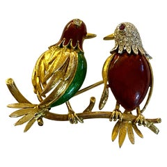 "18 Karat Yellow Gold ""Love Birds"" Brooch, Enamel, Diamonds and Ruby"