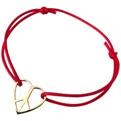 18 Karat Solid Yellow Gold Heart Love Peace Charm Bracelet