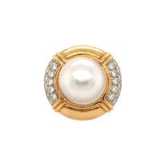 18 Karat Yellow Gold, Mabe Pearl and Diamond Ring