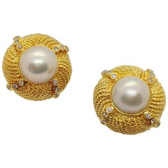18 Karat Yellow Gold Mabe Pearl Button Earrings with .72 Carat Diamonds