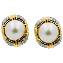 18 Karat Yellow Gold Mabe Pearl Clip Earrings