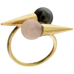 18 Karat Yellow Gold, Magnetite and Quartz Fashion Ring