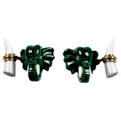 18 Karat Yellow Gold Malachite Elephant Heads Diamonds Cufflinks