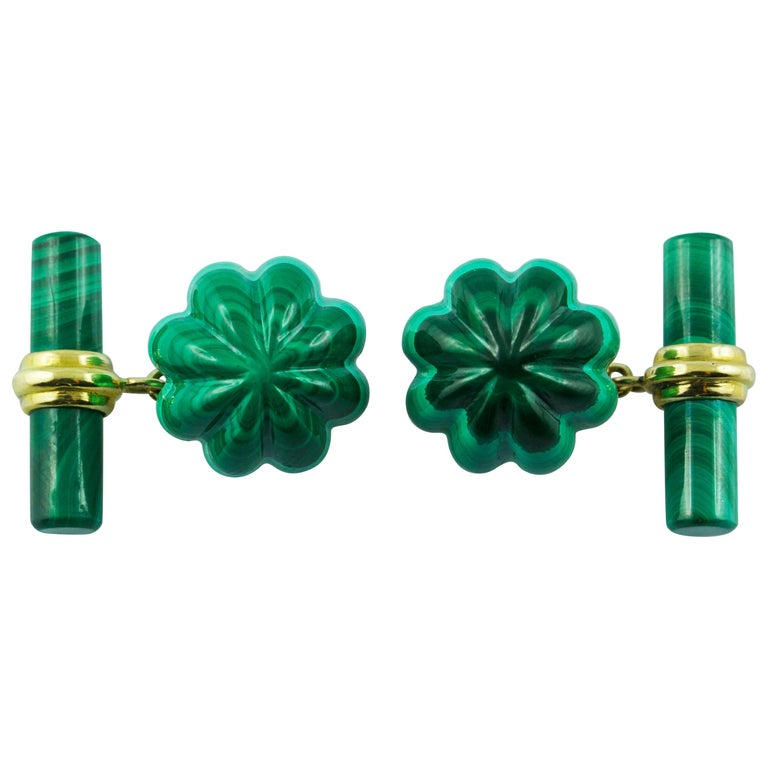 18 Karat Yellow Gold Malachite Flower Cufflinks For Sale