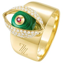 18 Karat Yellow Gold, Malachite, Pave Diamonds, Ruby-The EYE Cocktail Ring