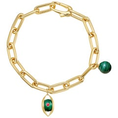 18 Karat Yellow Gold, Malachite, Ruby, Diamond-The EYE Chain Bracelet