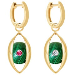 18 Karat Yellow Gold, Malachite, Ruby, Diamond-The EYE Hoop Earrings