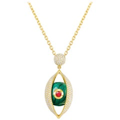 18 Karat Yellow Gold, Malachite, Ruby, Diamond-The EYE Large Pendant Necklace