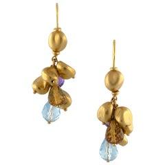 18 Karat Yellow Gold Marco Bicego Cluster Drop Earrings