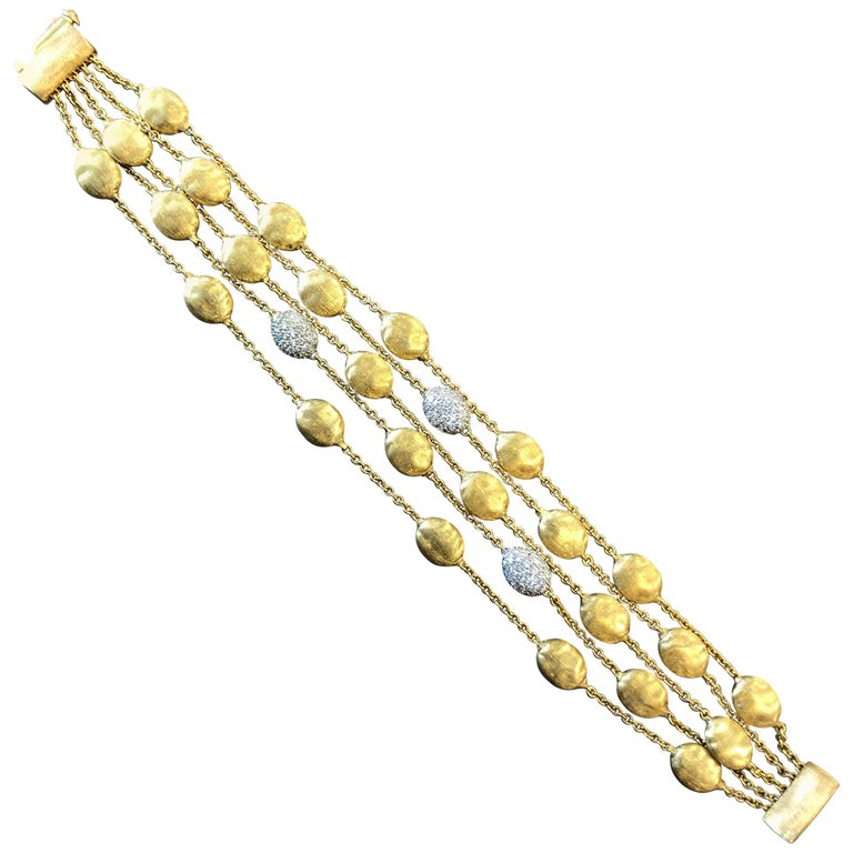 18 Karat Yellow Gold Marco Bicego Five-Stand Diamond Nugget Bracelet For Sale