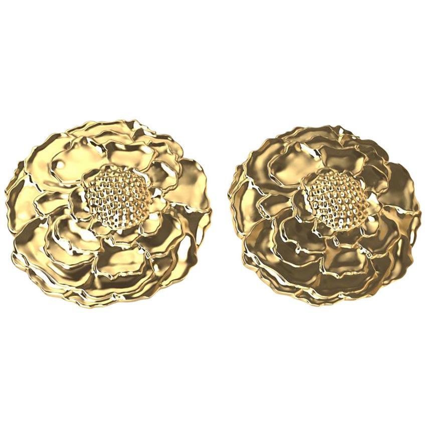 18 Karat Yellow Gold Marigold Stud Earrings