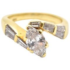18 Karat Yellow Gold Marquise 1.35 Carat Diamond Engagement Ring