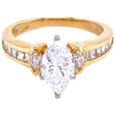 18 Karat Yellow Gold Marquise Cut Engagement Ring