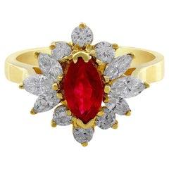 18 Karat Yellow Gold Marquise Cut Ruby Diamond Ring