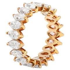 18 Karat Yellow Gold Marquise Diamond Eternity Ring