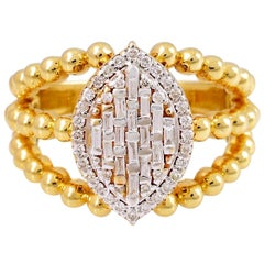 18 Karat Yellow Gold Marquise Diamond Ring