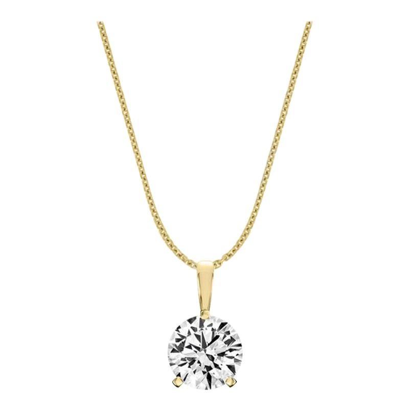 18 Karat Yellow Gold Martini 3 Prongs Natural Diamond Pendant '1 1/2 Carat'