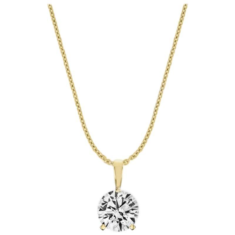 18 Karat Yellow Gold Martini 3 Prongs Natural Diamond Pendant '1/2 Carat'