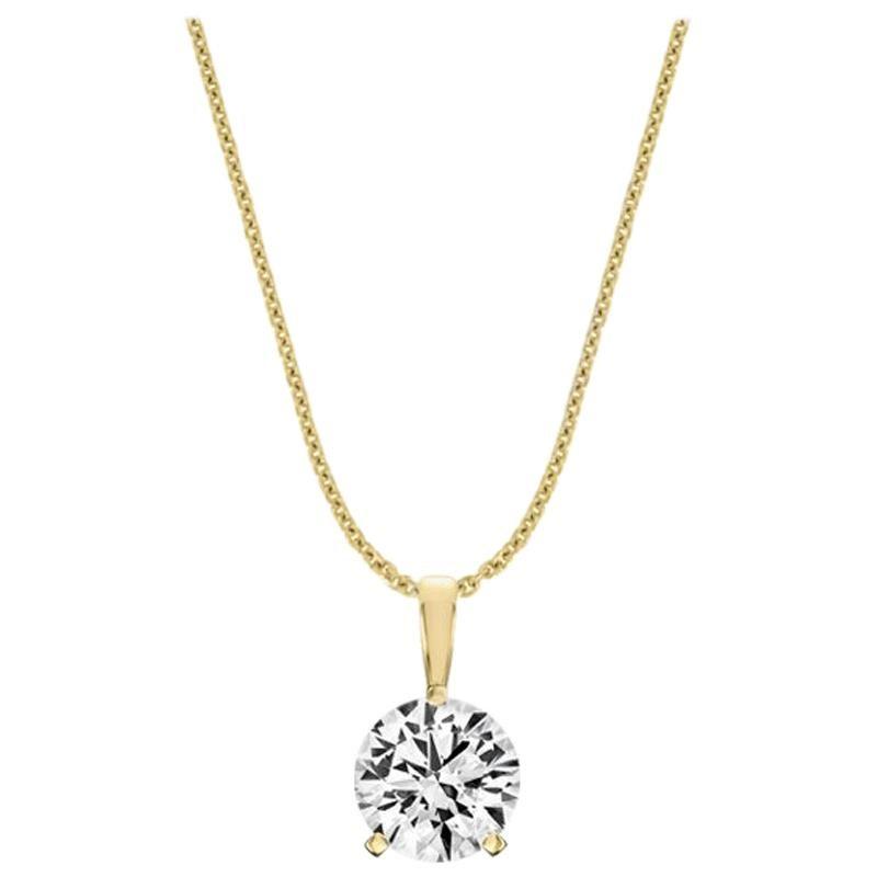 18 Karat Yellow Gold Martini 3 Prongs Natural Diamond Pendant '1 Carat'