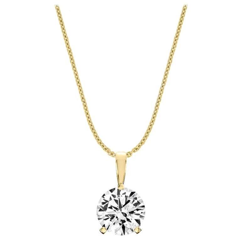 18 Karat Yellow Gold Martini 3 Prongs Natural Diamond Pendant '2 Carat'