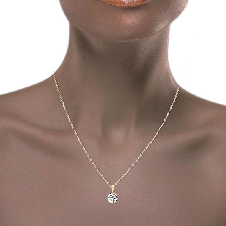18 Karat Yellow Gold Martini 3 Prongs Natural Diamond Pendant '3/4 Carat' In New Condition For Sale In San Francisco, CA
