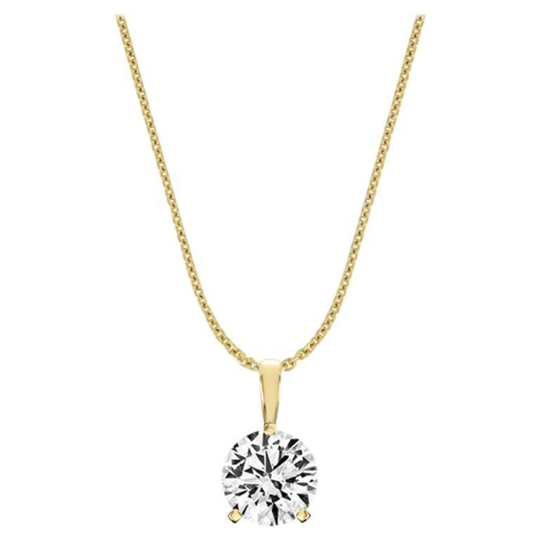 18 Karat Yellow Gold Martini 3 Prongs Natural Diamond Pendant '3/4 Carat' For Sale