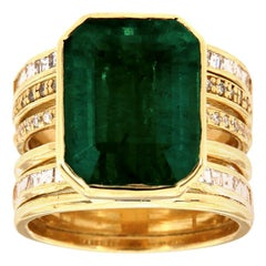 18 Karat Yellow Gold Marty Green Emerald Diamond Ring 'Center: 9.44 - Carat'