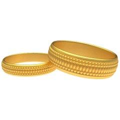 18 Karat Yellow Gold Matte Wedding Rings Bridal Set