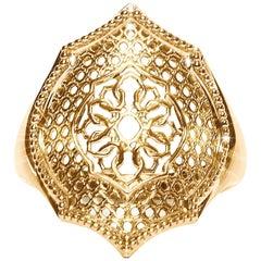 18 Karat Yellow Gold Mauresque Cocktail Ring Natalie Barney