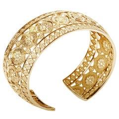 18 Karat Yellow Gold Mauresque Cuff Bracelet Natalie Barney