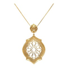 18 Karat Yellow Gold Mauresque Pendant and Chain Necklace Natalie Barney