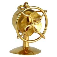 18 Karat Yellow Gold Mechanical Desk Fan Charm Pendant