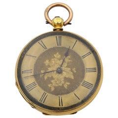 18 Karat Yellow Gold Mechanical Wind Movement Antique Pocket 34.7g Watch