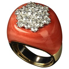Veschetti 18 Kt Yellow Gold, Mediterranean Coral Inlay and Diamond Cocktail Ring