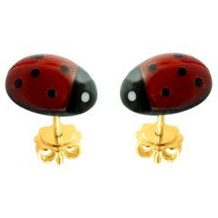 18 Karat Yellow Gold Mediterranean Coral Ladybug Stud Earrings