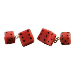 18 Karat Yellow Gold Mediterranean Coral Onyx Playing Dice Cufflinks