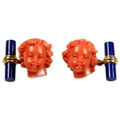 18 Karat Yellow Gold Mediterranean Coral Putto Lapis Lazuli Cufflinks