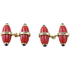 18 Karat Yellow Gold Mediterranean Coral Sapphires Carved Oval Cufflinks