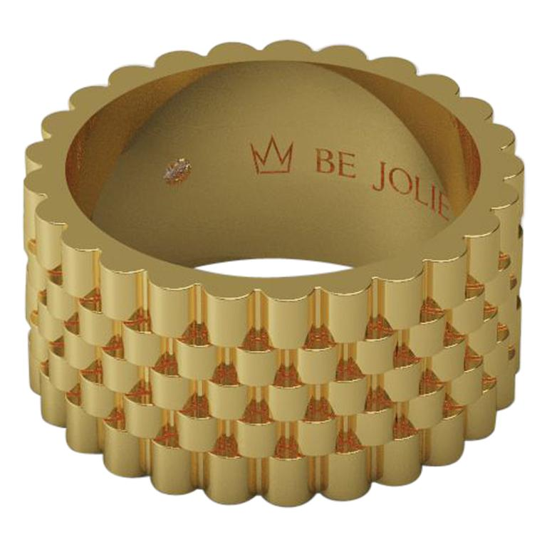 18K Yellow Gold Men's Band Ring